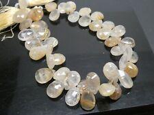 """Natural Golden Rutilated Quartz Faceted Briolette Teardrop Gemstone  8"""" Std"""