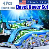 4 Pcs Queen Size Duvet Quilt 3D Cover Sheet Pillow Case Warm Soft Bedding