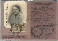 60970 - 200 L.  LAVORO su DOCUMENTO D'EPOCA: TESSERA POSTALE RICONOSCIMENTO 1953