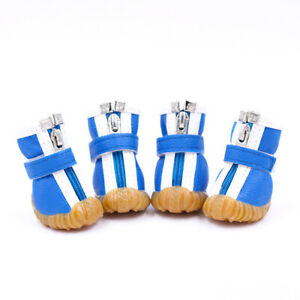 4PCS Pet Dog Boots Shoes for Small Dogs Outdoor Anit-Slip Puppy Shoes Waterproof