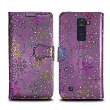 Buy 1 Get 1 Leather Wallet Flip Book Style Phone Case Cover for LG Stylus 2 Metallic Flower Purple - Glitter Embossed Twinkle