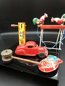 Tin Toys, Friction Car, 1928 Noise Marker, Wooden Rattle Lot 5