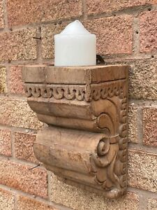 Antique Vintage Indian Hand Carved Teak Wooden Cornice Candle Sconce Holder 1