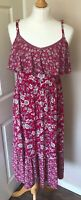 Monsoon Floral Strappy Sun Dress 10  Easy Care  100% Viscose