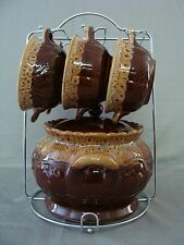 Home Essentials & Beyond Brown Ceramic Soup/Gumbo/Chili Tureen, 6 Bowls & Rack
