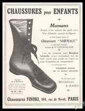 Publicité FINOKI Chaussures pour Enfants Children's shoes Vintage Ad  1913