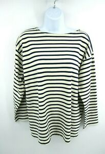 Le Minor Womens Nautical Striped Shirt Top Blue Ivory Size M/L ? Made in France