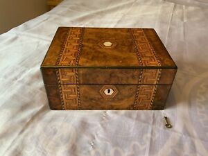 Victorian Antique Sewing/ Workbox/ Jewellery Box With Working Lock And Key