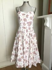 Lovely Laura Ashley White Stylised FLORAL Cotton Strappy Dress Lined 10/12