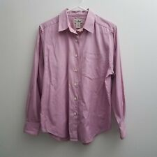 LL Bean Women's Button Down Shirt Sz Small Pink White Top Long Sleeves Office