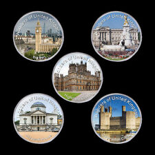 WR 5pcs Set Wonders of United Kingdom Silver Coins Collection Mens Gift Ideas