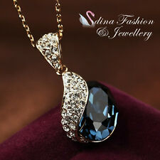 18K Rose Gold GP Made With Swarovski Element Oval Cut Luxury Sapphire Necklace