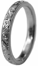 BRAND NEW LADY HAND ENGRAVED 3 MM WIDE PURE PALLADIUM WEDDING BAND RING