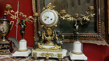 pendule garniture bronze doré 19e st L XVI napoleon III mantel clock putti anges