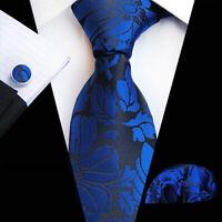 Tie Pocket Square Cufflinks Navy Blue Flower Floral Set 100% Silk Wedding