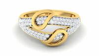 Pave 0,60 Cts Naturel Diamants Fiançailles Band Bague En 750 Solide 18K Or jaune