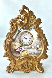 Working! Antique Viennese Austrian Lovers Enamel Bronze Rococo Miniature Clock