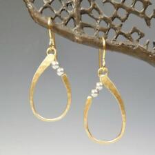 Marjorie Baer Small Hammered Oval with Grey Swarovski Pearls Earrings Handmade