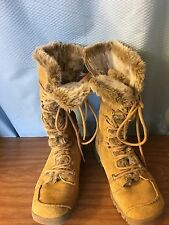 SKECHERS WOMEN TAN LEATHER UPPER FAUX LINED MID CALF WINTER BOOTS SIZE 9