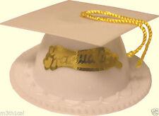 ONE White Graduation Cap W/ Tassel Cake Topper Decor Grad Party Supply