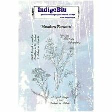 IndigoBlu Red Rubber Stamp ~ Meadow Flowers & Sentiment Stamp 5 Piece Set