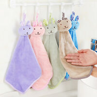 Baby Hand-Towel Cartoon Rabbits Plush Kitchen Soft Hangings Bath Wipe Towels3C