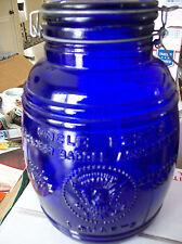 Collectible Cobalt Blue 1966 Uncle Ezra's Cracker Barrel /Cookie Jar/ 4 Quarts