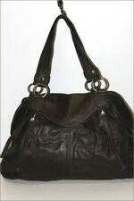 GENUINE LEATHER Sac Shopping Cuir Marron Foncé Anses Epaules TBE
