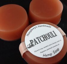 PATCHOULI Hemp Oil Soap, Detergent Free, Round Glycerin Bar Puck Hippy Musk