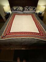 "Afghan HANDMADE VINTAGE Blanket Crochet Multi-Color Retro 70s - 60x50"" Throw"