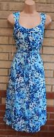 WARDROBE BELTED BLUE WHITE ABSTRACT SQUARES PRINT A LINE FLIPPY SKATER DRESS L