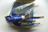 VINTAGE  STYLE JEWELLERY BLUE PURPLE WHITE ENAMEL RHINESTONE SWALLOW BIRD BROOCH