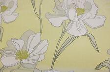 """Artichoke"" Shade & White Poppy Floral, Printed Taffeta Curtain Fabric"