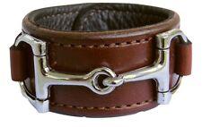 Equestrian Horse Bit Leather Wide Cuff Bracelet Silver Hardware, BROWN