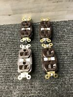 NOS Lot of 4 Hubbell 125V 20A Brown Receptacle Outlet *FREE SHIPPING*