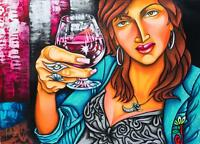 "Ana GLADYS 6E ORIGINAL CUBAN Fine Art Signed Painting Cuba Havana 21.5X29.5"""