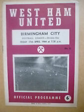 1964 League Division One- WEST HAM UNITED v BIRMINGHAM CITY, 17th April