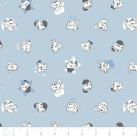 Disney 101 Dalmatians Puppy Dogs Faces Light Blue 100% Cotton fabric by the yard