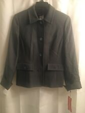 NWT Nina Mclemore Gray Wool 2004 Collection Style 10029 Jacket Blazer 8 10 S M
