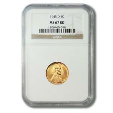 United States Lincoln Wheat Cent Penny 1¢ 1945D NGC-MS 67 Red