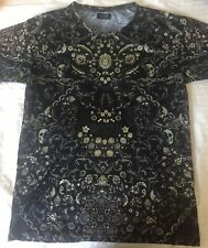 ZARA Men's Black semi fitted T-shirt with bird skull and floral print Size L