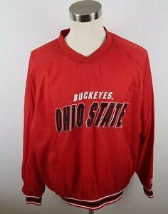 Ohio State Buckeyes Mens Nylon LS V Neck Red Pullover Coat Jacket Logo 7 Size XL
