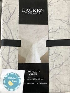 Ralph Lauren Tablecloth 60 x 120 Winter Nights Taupe Red Gray Cotton New