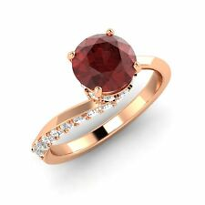 Natural Garnet Engagement Ring in 18k Rose Gold with SI Diamond - 1.58 Ct