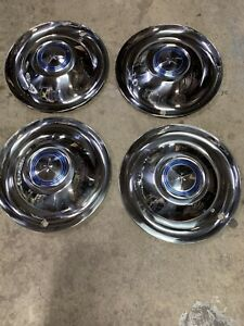 "Vintage Airstream 1950,s Nos Lyon 15"" Hubcaps Set 4 Mint. Rare"
