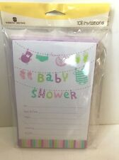 American greetings baby shower cards for sale ebay baby shower american greetings 10 invitations envelopes clothesline rsvp cards m4hsunfo