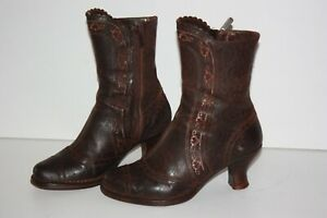 Neosens Leather Boots Printed Lace Dark Brown T 38 Very Good Condition