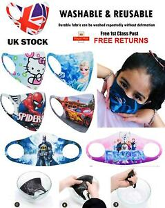 Kids Childrens Face Mask Washable Breathable Reusable Mouth Protection Fun Print