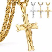 Deluxe Jesus Kreuz Anhänger Königskette 55 -70 Massiv Edelstahl Halskette Herren