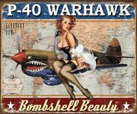 P-40 Warhawk Metal Tin Sign Vintage Pinup War Plane Garage Bar Wall Decor #2460